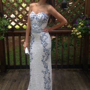Scala white sequin prom dress